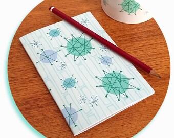 Atomic Starburst Notebook - Retro Notebook - Space Age Journal - Retro Journal - Mid Century Notebook - pocket journal - vintage notebook