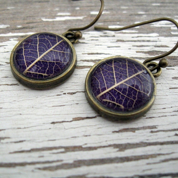 Real Botanical Earrings - Purple and Brass Round Pressed Leaf Earrings