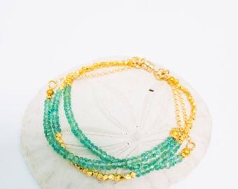 Columbian Emerald and Gold Vermeil Bracelet