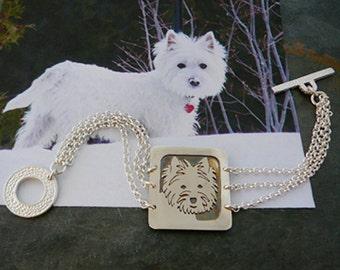 Sterling Silver Bracelet, Your Pet as a Pendant Bracelet.. Solid Back, Head Shot Body