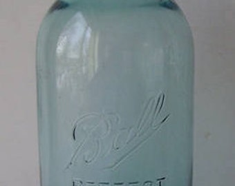 Ball Perfect Mason 2 Quart Blue Canning Jar with Rubber Band and Zinc Screw On Lid, #10, Country Canning, Rustic Kitchen, Primitive Kitchen,
