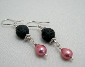 Lava Pink Pearl Drop Earrings Black Lava Dusty Rose Freshwater Pearl Sterling Silver Dangle Aromatherapy Earrings