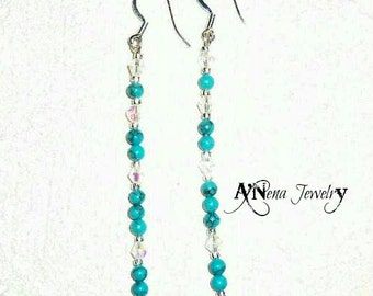 """Earrings: 925 Sterling Silver, Turquoise and Swarovski Elements """"I Am Free And Successful"""" By ANena Jewelry"""