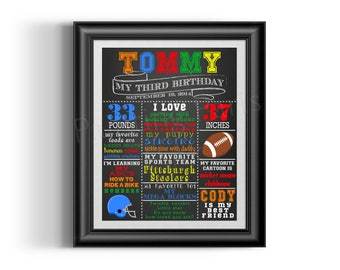 Football Chalkboard Birthday or School Year Sign | Digital DIY Printable | Boy | Sports | Poster | Many Size Choices