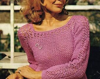 2148R Ladies  jumper  crochet vintage pattern PDF instant download