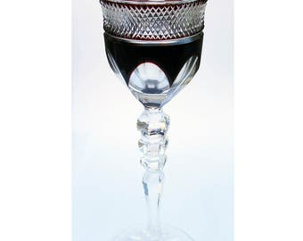 Red Wine Glass - Ruby Red and Cut Crystal Glass