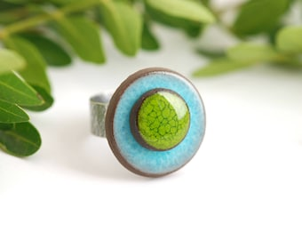 """Adjustable ring ceramic collection """"confetti"""" blue green"""