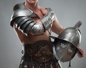 LARP Steel Shoulder& Bracer/Spartacus Sleeve/Gladiator Armor/LARP Fantasy Armour/ handcrafted unique custom made