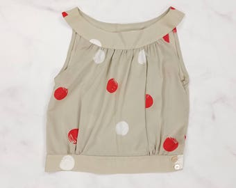Vintage Gray Red & White Polka Dot Sleeveless Satin Blouse, Womens Size 12