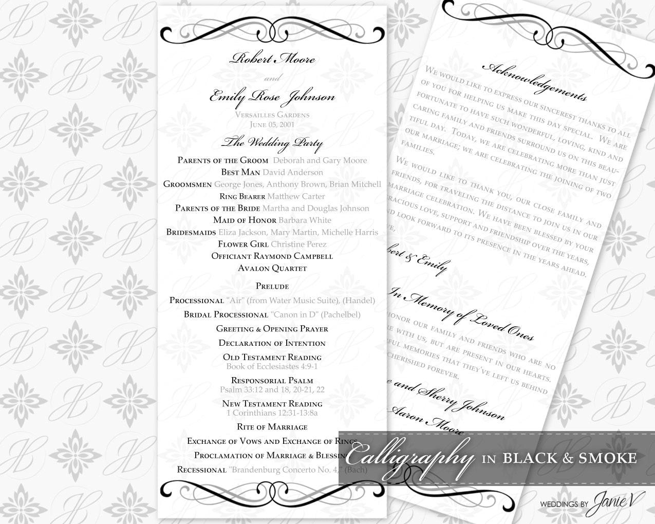 DIY Printable Wedding Ceremony Program Template Printable