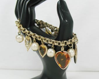 Vintage Accessocraft Heart with Locket Charm Bracelet