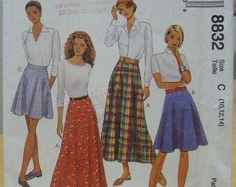 McCalls 8832 flared skirt sewing pattern 10 12 14 UNCUT