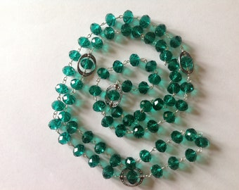 Long emerald green crystal glass beaded necklace flapper necklace green necklace fashion necklace statement necklace handmade necklace long