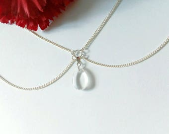 Silver Chain Necklace / Rock Crystal Pendant Necklace / Layered Silver Chain Necklace