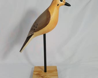 Carved wood MOURNING DOVE contemporary style decoy. Textured acrylic paint on pine and cedar. Signed by artist, Lawrence Reader.