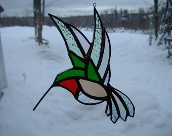 hummingbird flat, stained glass suncatcher