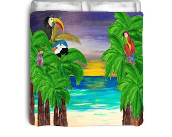 Tropical Birds in Beach Sunset Comforters from my art
