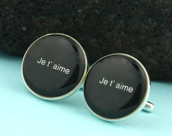 Je t'aime Sterling Silver Cufflinks/ Je t'aime Cuff links / I love you in French / Wedding Cufflinks/ Wedding Sterling Silver Cuff Links