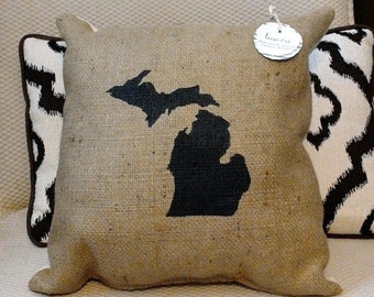 "Black Michigan Silhouette 17"" x 17"" Stuffed Burlap Pillow  - mitten state - great lakes - detroit - ann arbor - rustic - housewarming"