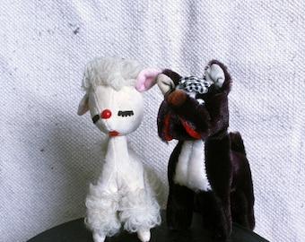 Vintage 50's Scotty Dog & Poodle Stuffed Animal Set
