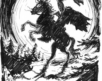 Headless horseman A5 ink drawing Inktober