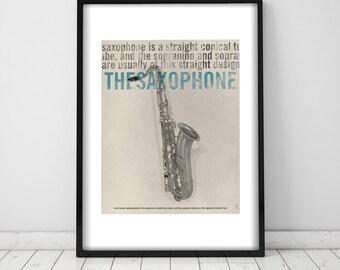 The Saxophone. Wall decor art. Poster. Illustration. Digital print. Music. Musical instrument.
