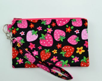 Wristlet Wallet Strawberry Print - Cell Phone Wristlet - Zipper Pouch Wallet - Pink and Red Wristlet Clutch