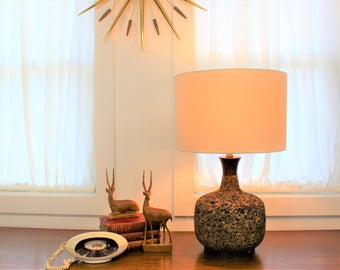 Cork lamp etsy mid century modern vintage cork lamp with wood accents aloadofball Images