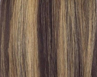 100% Human Hair Flip-in(HALO) extension Hand-made Brown & Blonde Mix