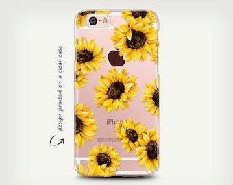 iPhone 7 Case , iPhone 8 Case , iPhone X Case , iPhone 6 Case , iPhone 7 Plus Case , Samsung Galaxy S8 Case , Clear Rubber , Sun Flower