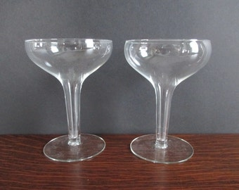 Pair Champagne Coupes Hollow Stems Glass Stemware