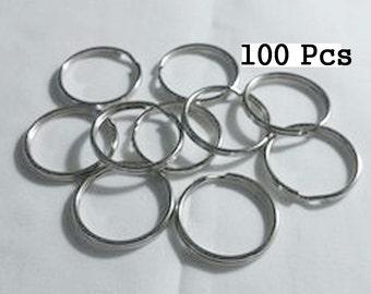 Bulk 100 Key Rings, 1 Inch (25mm) Split Rings, Key Chain, Key Holder, Split Rings