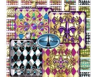 "Harlequin Square Pendant Images 1"", 1.5"", 2"" Tiles Harlequin, Metallic Pendant Images, Fleur de Lis Tile Images, 2"" Square Images"