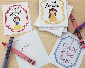 30 Sheet Notepad | Positive Affirmations | Lunchbox Notes | Tear off Lunch Box Note Pad | Princess | For Girls | Lunch Notes | Affirmations