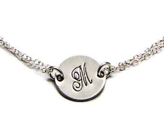 Silver Initial Bracelet - Sterling Silver - Personalized Monogram - Gift For Her - Birthday Gift - Girlfriend Gift - Bridesmaids Gifts