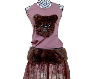 Ewok Star Wars themed shirt and skirt costume
