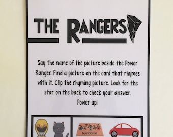 Rhyme with the Rangers, learning game, educational toy, preschool activity, Power Rangers game, busy bag