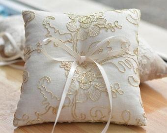 ring bearer pillow, golden lace ring bearer pillow, wedding ring pillow,rign pillow with golden string