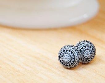 scandinavian posts - vintage black and white  folk earrings- fair isle- mosaic style