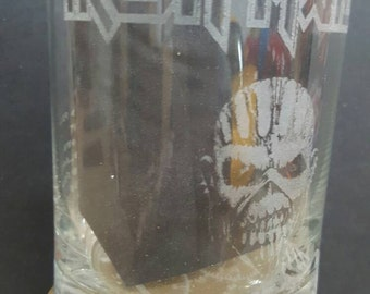 Iron Maiden Book of Souls - Laser Etched Rocks Glass