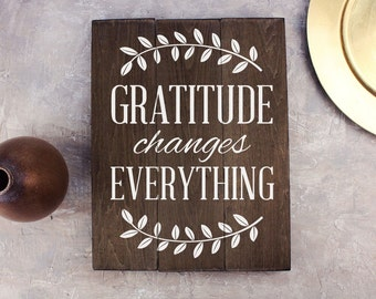 Gratitude Sign Gratitude changes everything sign art Farmhouse Decor Kitchen art Kitchen Wall Decor Rustic Kitchen Decor
