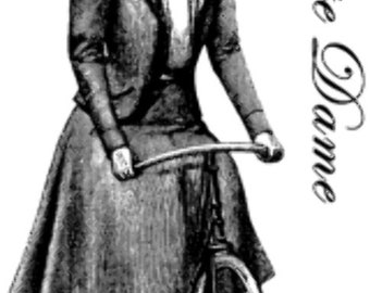 Deep Red Cling Rubber Stamp Rubber Stamp Bicyclist Lady