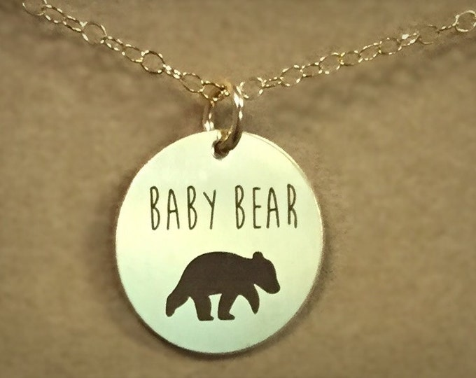 Baby Bear Necklace in Yellow Gold or Rose Gold, Custom Gift, Expectant mothers Gift,
