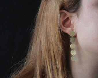 NODO 5 Dots Earrings - brushed brass minimal dangle earrings, statement earrings, circular geometric statement jewelry, simple staple jewels