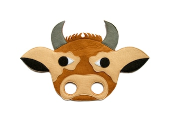 BROWN COW Felt Mask, Bull mask, Kids Brown Calf mask, Adult Cow costume, Brown Bull dress up, Farm animal costume, Farm party supplies
