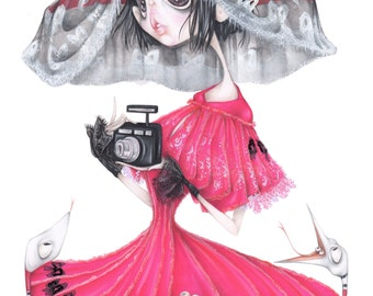 beetlejuice lydia deetz tim burton pop surrealism fashion illustration halloween art print