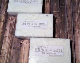Dead Sea Salt and Charcoal Soap / Detox Soap / Exfoliating Soap / Goats Milk Soap