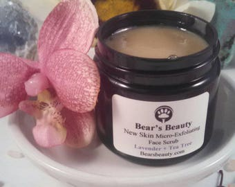 LAVENDER + TEA TREE | Micro-Exfoliating Face Scrub | Face Scrub | Face Polish  Microdermabrasion | Vegan Face Scrub | Gentle Face Scrub