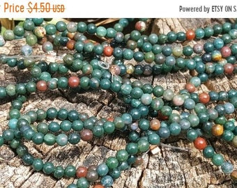 """SAVE 20% 1-16"""" Strand 4mm Bloostone Jasper Beads Smooth 4mm Rounds (98 Beads)"""