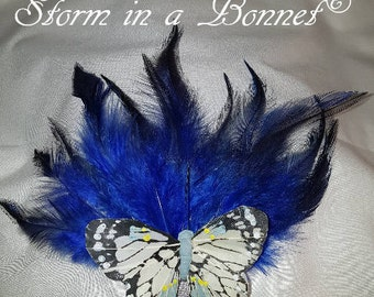 Blue feather and butterfly headdress